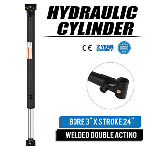 Hydraulic Cylinder 3 Bore 24 Stroke Double Acting Black Welded Maintainable