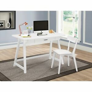 Casual White Desk And Chair Set