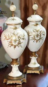 Pair Antique Victorian Finials Pair Cream Hand Painted Accents Brass Footed