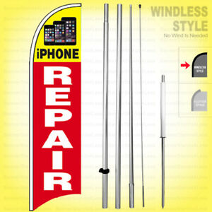 Iphone Repair Windless Swooper Flag Kit 15 Feather Banner Cell Sign Rq h