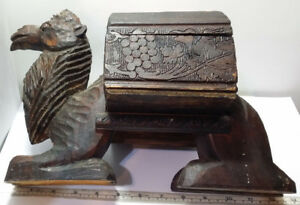 Old Vintage To Antique Carved Wooden Folk Art Camel Box 9 25 Tall X 13 Long