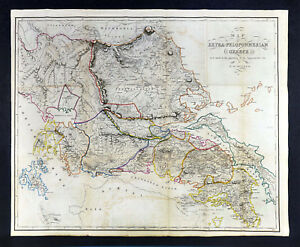 1849 Muller Map Extra Peloponnesian Greece Pre War Attica Athens Delphi Thessaly