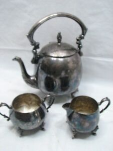 Antique Coffee Tea Set Sheridan Silver On Copper Plate Teapot Pot Sugar Creamer
