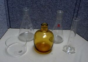 5 Vintage Lab Chemistry Laboratory Glass Flasks Beaker Bottle Pyrex Aldrich Cn