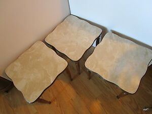 Mid Century Modern 3 Nesting Stacking End Side Tables Formica 14 5 Square Vtg