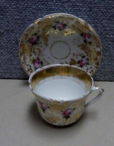 Hand Painted Antique 19th C Cup Saucer