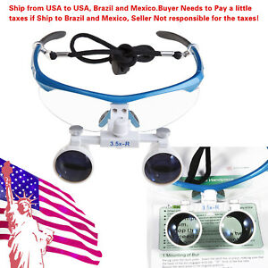 Us To Braz Magnifier Dental Surgical 3 5x Binocular Loupes Optical Glasses Blue