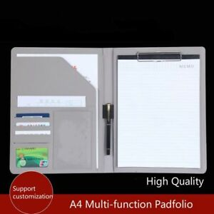 Leather Padfolio Clipboard Folder Organizer New Multi Function Document Planner