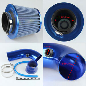 Universal 75mm 3 Ram Cold Air Intake Filter Pipe Filter Tube Hose Blue Fuel