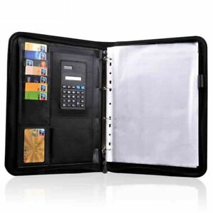 Leather Folder Organizer For Document Business Multi Function With Calculator