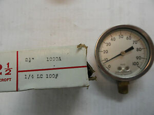 Ashcroft Stainless Sanitary Pressure Gauge 2 1 2 Dial 100 Psi 1009a