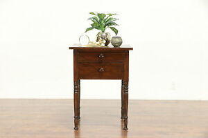 Victorian Flame Birch 1850 Antique 2 Drawer Nightstand Or End Table 30277