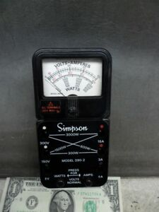 Vintage Simpson 390 2 Volts amps Watts audio Testing no Meter Leads