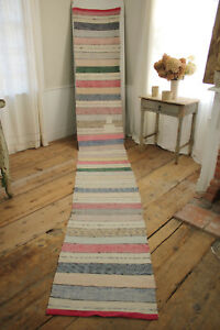 Rag Rug Vintage European Long Stair Runner Colorful Hallway Carpet With Patches