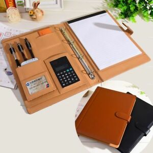 Office Supplies Leather Folder Organizer 4 Ring Binder Big File With Calculator