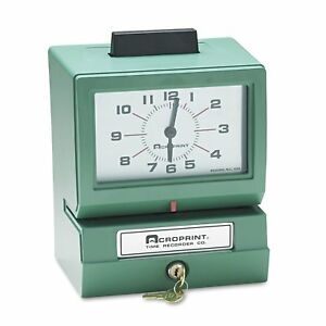 Acroprint Model 125 Analog Manual Print Time Clock With Month date 0 12