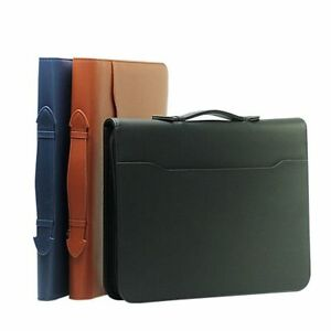 Leather Padfolio Manager Folder Briefcase Document Filing Holder With Calculator