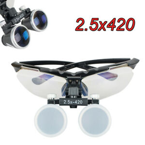 Black Dental Surgical Binocular Loupes 2 5x420mm Optical Glass Loupe Magnifier