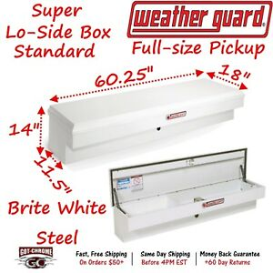 176 3 01 Weather Guard White Steel Super Lo Side Mount Box 60 Truck Toolbox