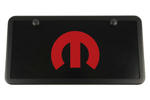 Black Mopar License Plate Vanity Tag Frame Red Engraved M Usa Made