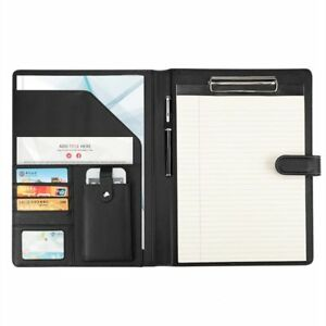 Faux Leather File Folder New Documents Manager Bag With Paper Clip Phone Pocket