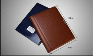 Leather Padfolio Manager Bag Document Zipper Folder Multi Functional Filling Pad
