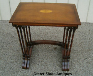 59692 Inlaid Mahogany Stack Nesting Table Stand S Sebolt Furniture