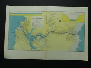 1909 Panama Canal Map Hammond 20 5 X 13 5