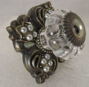Alluring Victorian Antique Brass Pearly Metal Drawer Cabinet Pull Knob Handle