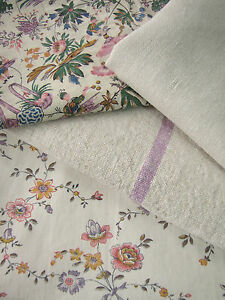 Antique Vintage French Printed Cottons Project Bundle Purples Linen