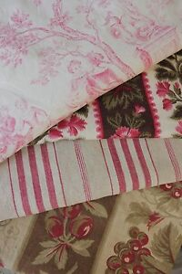 Antique French Fabric Vintage Material Project Bundle Toile De Jouy Pink