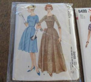 Vintage Lot 1960s Sewing Patterns Wiggle Dress Long Full Coat Party Ladies Gown