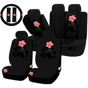 22pc Whimsical Pink Flower Seat Covers Steering Wheel Set Universal Car Truck