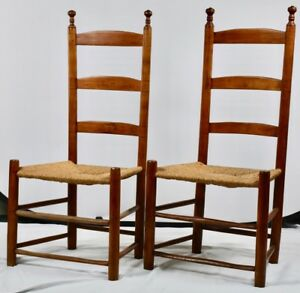 Antique Ladder Back Childs Chairs Shaker Style Set X 2