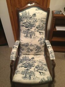 Antique Victorian Chair Totally Restored In Mint Condition With Foot Stool