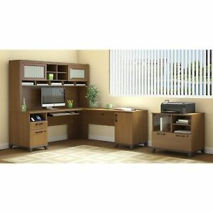 Achieve L Shaped Desk With Hutch And Printer Stand File Cabinet