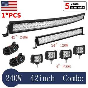 42 Inch Curved Led Light Bar 22 4x 4 18w Pods For Ford Jeep Suv Truck Marine