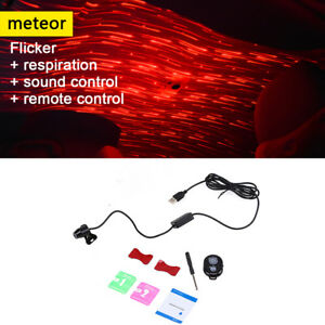 Usb Led Car Ceiling Atmosphere Armrest Box Red Lamp Projector Light Home Party