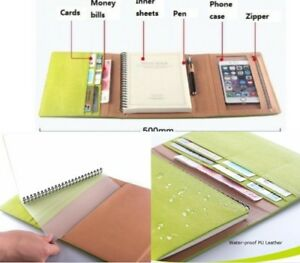 A5 Notebook Waterproof Leather Business Travel Multi Function File Organizer New