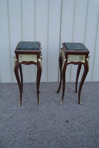 59743 Pair Marble Top Plant Pedastal Table Stand S Bronze Ormalu