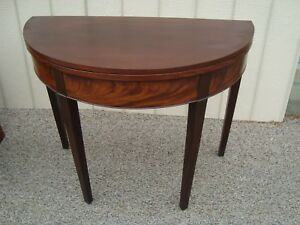 58158 Antique Burled Mahogany Flip Top Game Table Dining Table