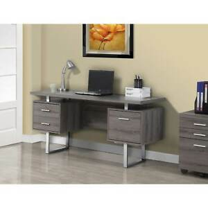 Dark Taupe Reclaimed look Silver Metal 60 inch Office Desk