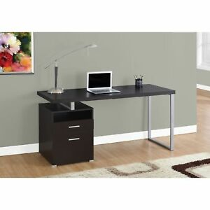 60 inch Computer Desk With Cappuccino And Silver Metal Finish