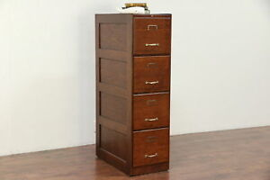 Oak Antique 4 Drawer Library Or Office Filing Or File Cabinet Weis 29710