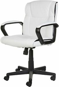 White Leather Modern Executive Computer Conference Desk Office Task Chair