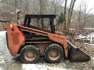 1995 Thomas T103 Skidloader Skid Steer Kubota Diesel 2 Buckets And Forks Pick Up