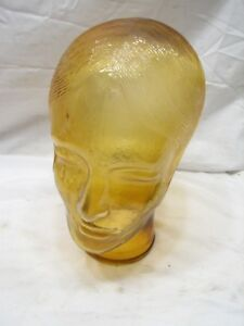 Vintage Amber Glass Mannequin Head Store Men s Hat Wig Display