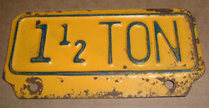 Vintage 1 1 2 Ton License Plate Topper Tag For Ford Chevy Dodge Trucks