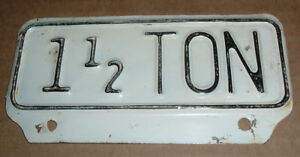 Vintage 1 1 2 Ton License Plate Topper Tag For Ford Gmc Chevy Dodge Trucks