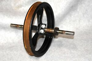 Nos Vtg 9 Flat Belt Cast Iron Pulley Wheel W axle For Gas Or Hit Miss Engine